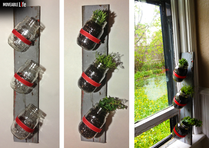 DIY wall hanging herb garden